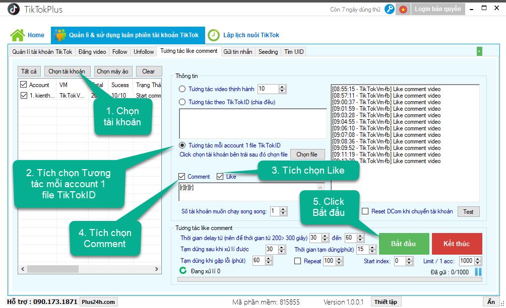 Hướng dẫn tương tác tự động like comment trên TikTok – TikTokPlus 3