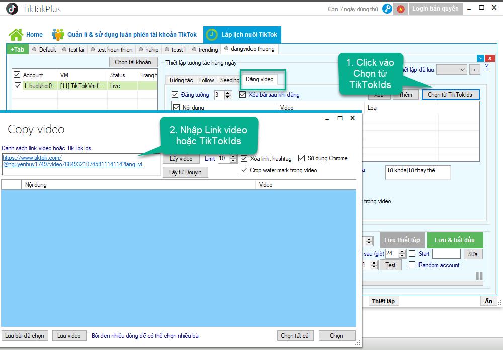 Lập lịch copy video từ tiktok về tài khoản TikTok - TikTokPlus 1