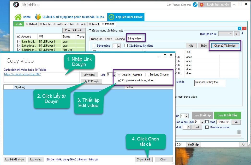 Lập lịch copy video từ douyin về tài khoản TikTok – TikTokPlus 2