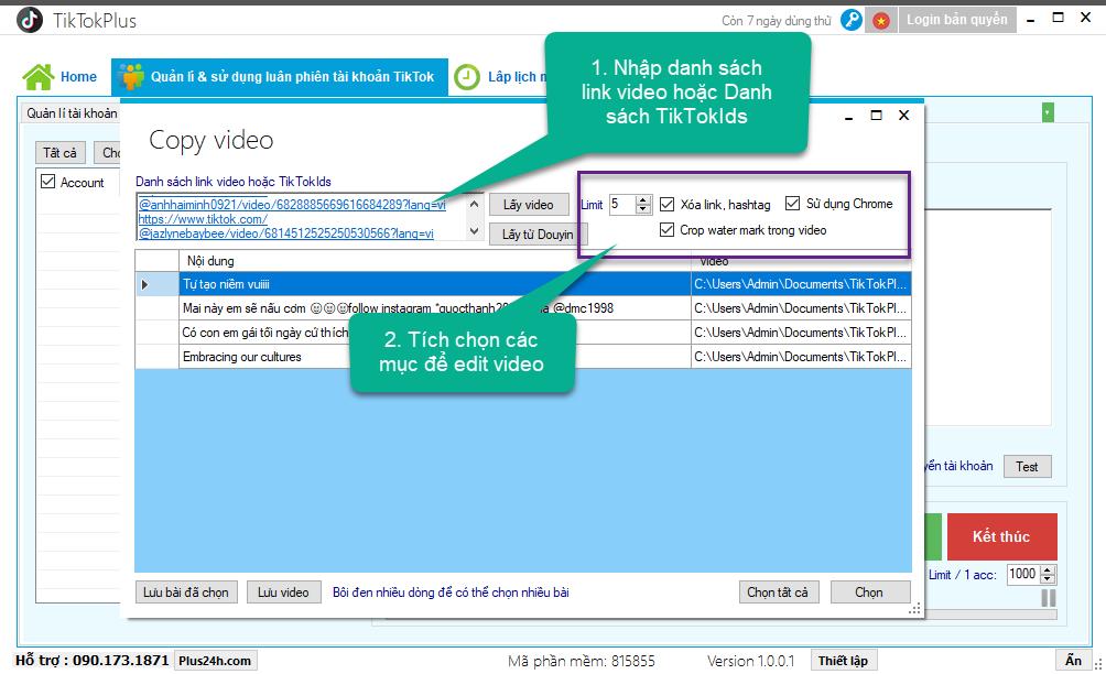 Hướng dẫn tải xuống video tiktok hàng loạt - TikTokPlus 1