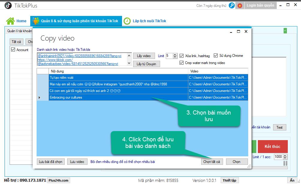 Hướng dẫn tải xuống video tiktok hàng loạt - TikTokPlus 2