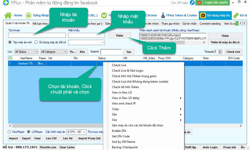 Hướng dẫn cài đặt máy ảo và khởi chạy cho tài khoản trên phần mềm Fplus 7