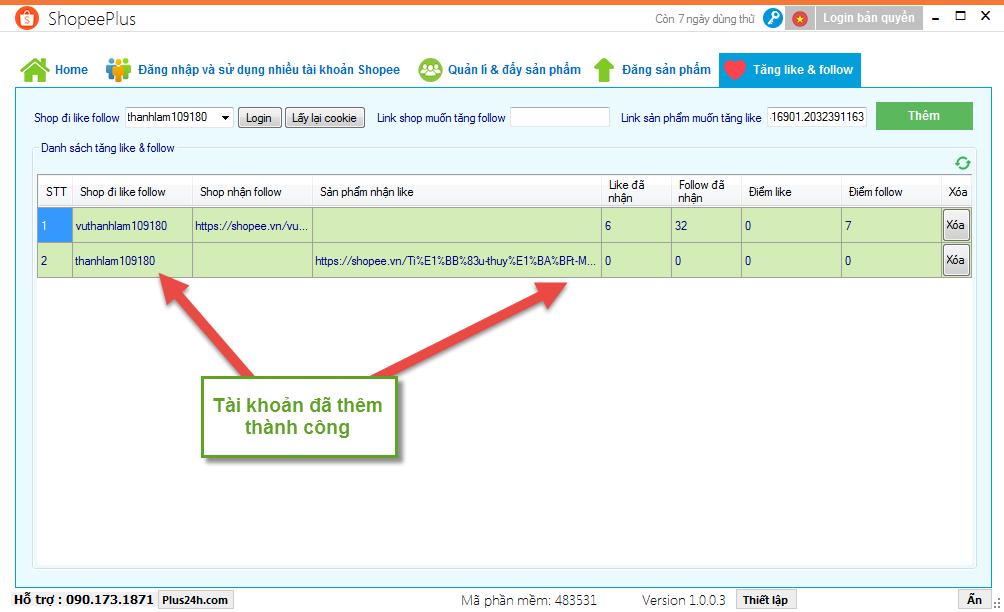 Cách tăng like cho sản phẩm trên Shopee bằng ShopeePlus 3