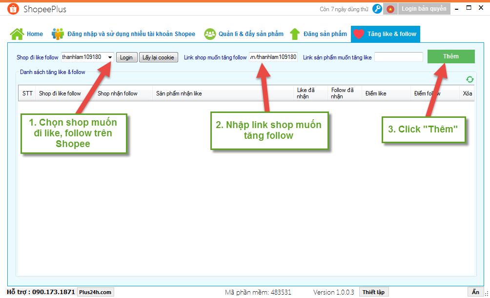 Cách tăng lượt Follow trên Shopee bằng ShopeePlus 2