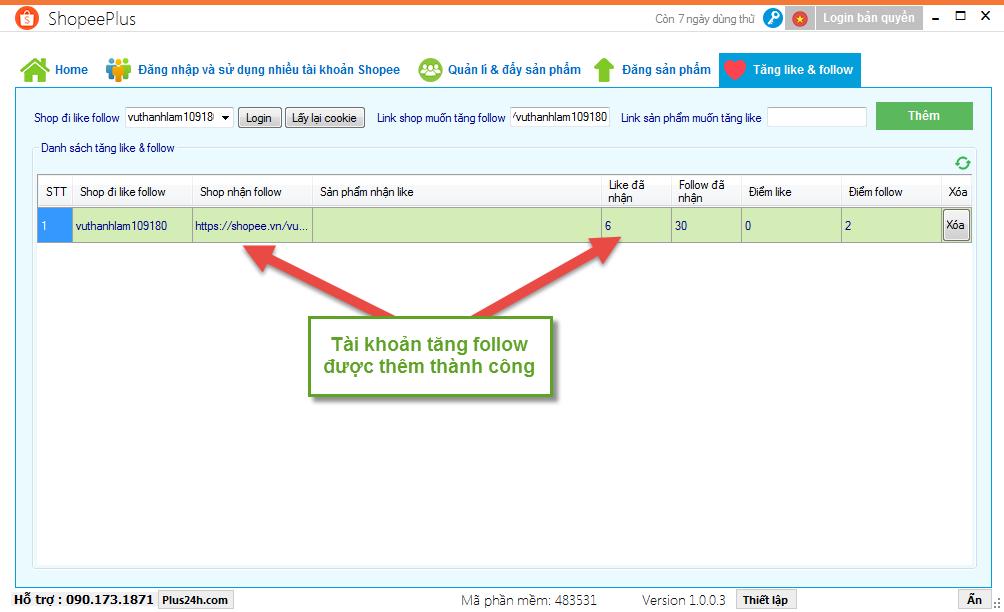Cách tăng lượt Follow trên Shopee bằng ShopeePlus 3
