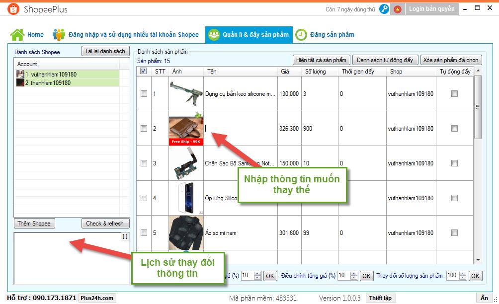 Chỉnh sửa sản phẩm hàng loạt trên nhiều tài khoản Shopee 3