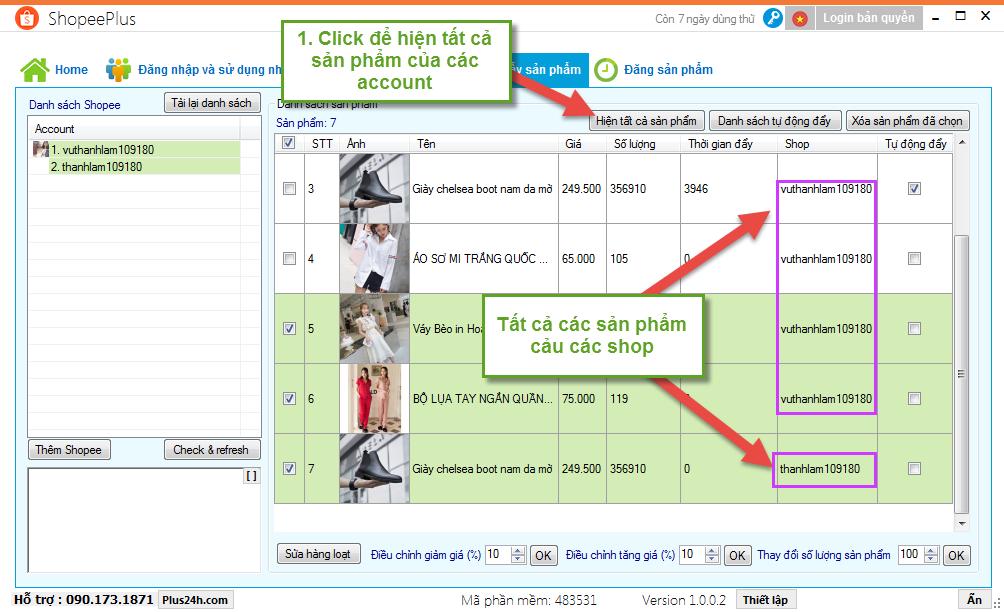 Chỉnh sửa sản phẩm hàng loạt trên nhiều tài khoản Shopee 2
