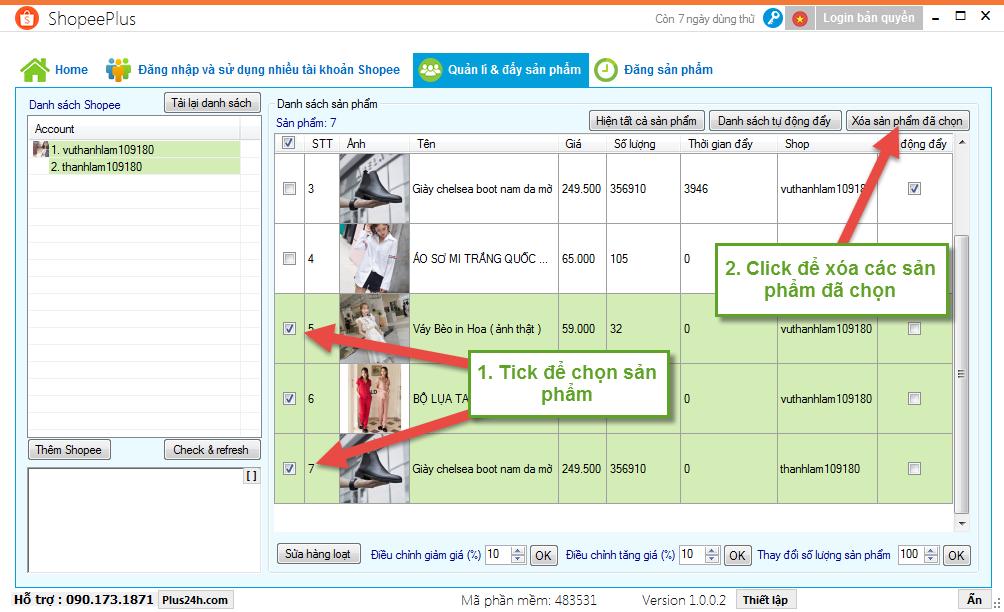 Tự động đẩy sản phẩm trên Shopee bằng ShopeePlus 3