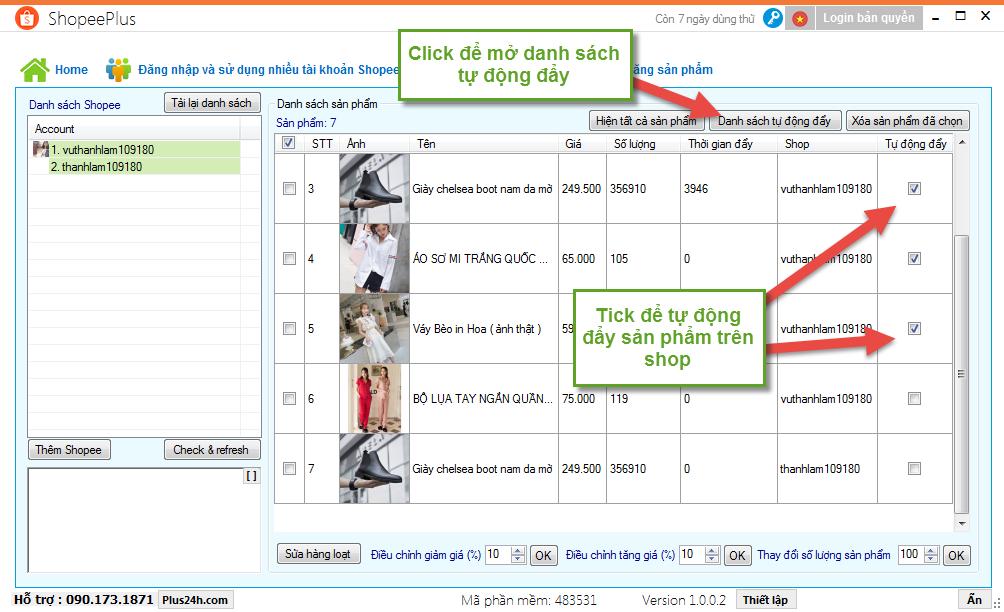 Tự động đẩy sản phẩm trên Shopee bằng ShopeePlus 7