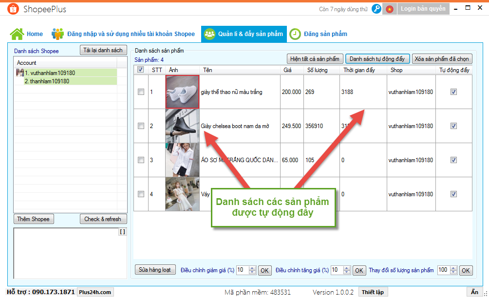 Tự động đẩy sản phẩm trên Shopee bằng ShopeePlus 8