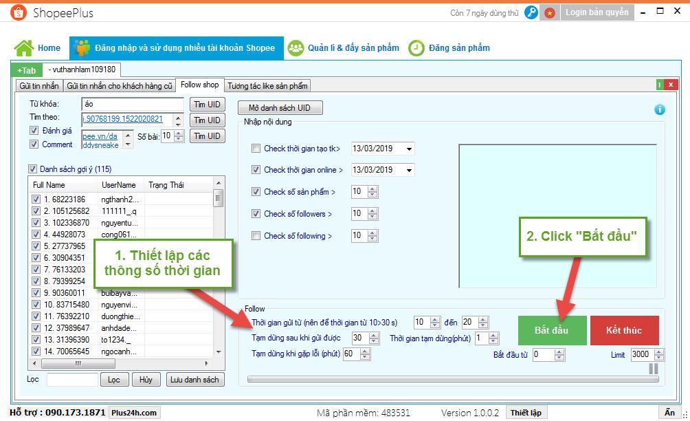 Hướng dẫn follow shop hàng loạt trên Shopee bằng ShopeePlus 6