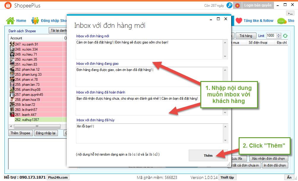 Tự động inbox với đơn hàng trên Shopee - ShopeePlus 2