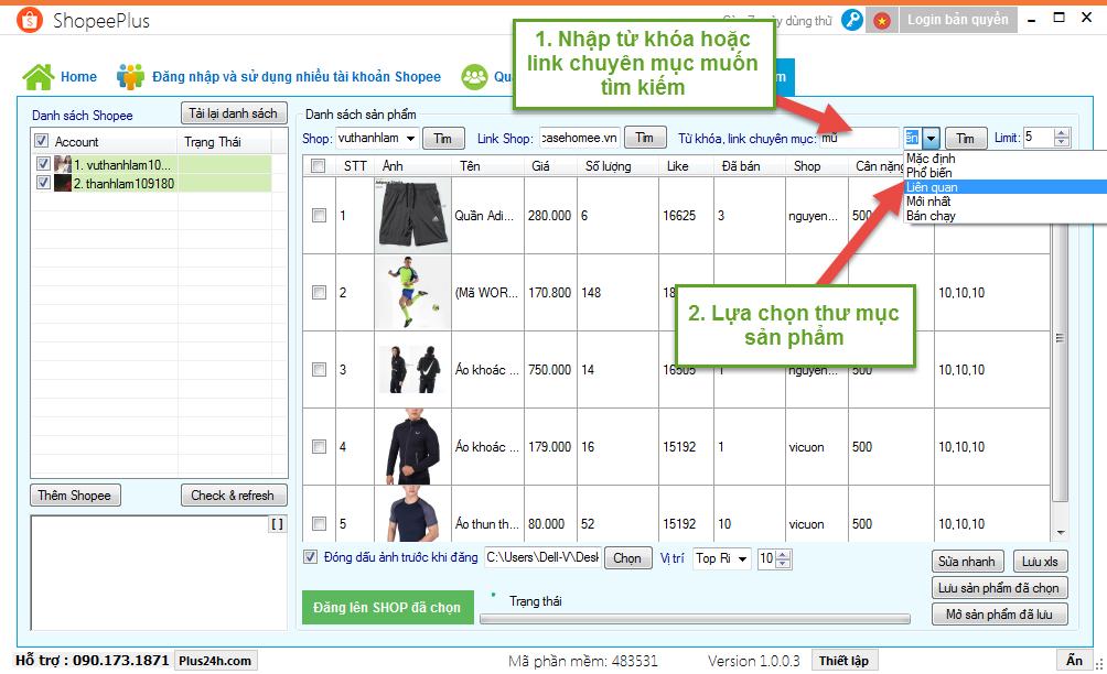 Copy sản phẩm theo từ khóa hoặc chuyên mục trên Shopee 2