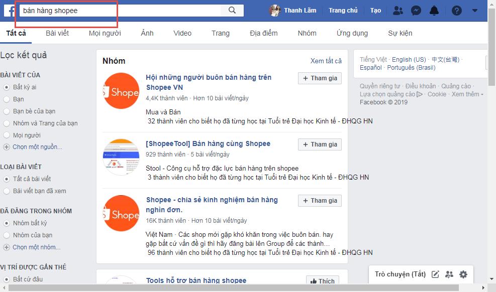 Quảng cáo trên Shopee bằng cách chia sẻ lên mạng xã hội